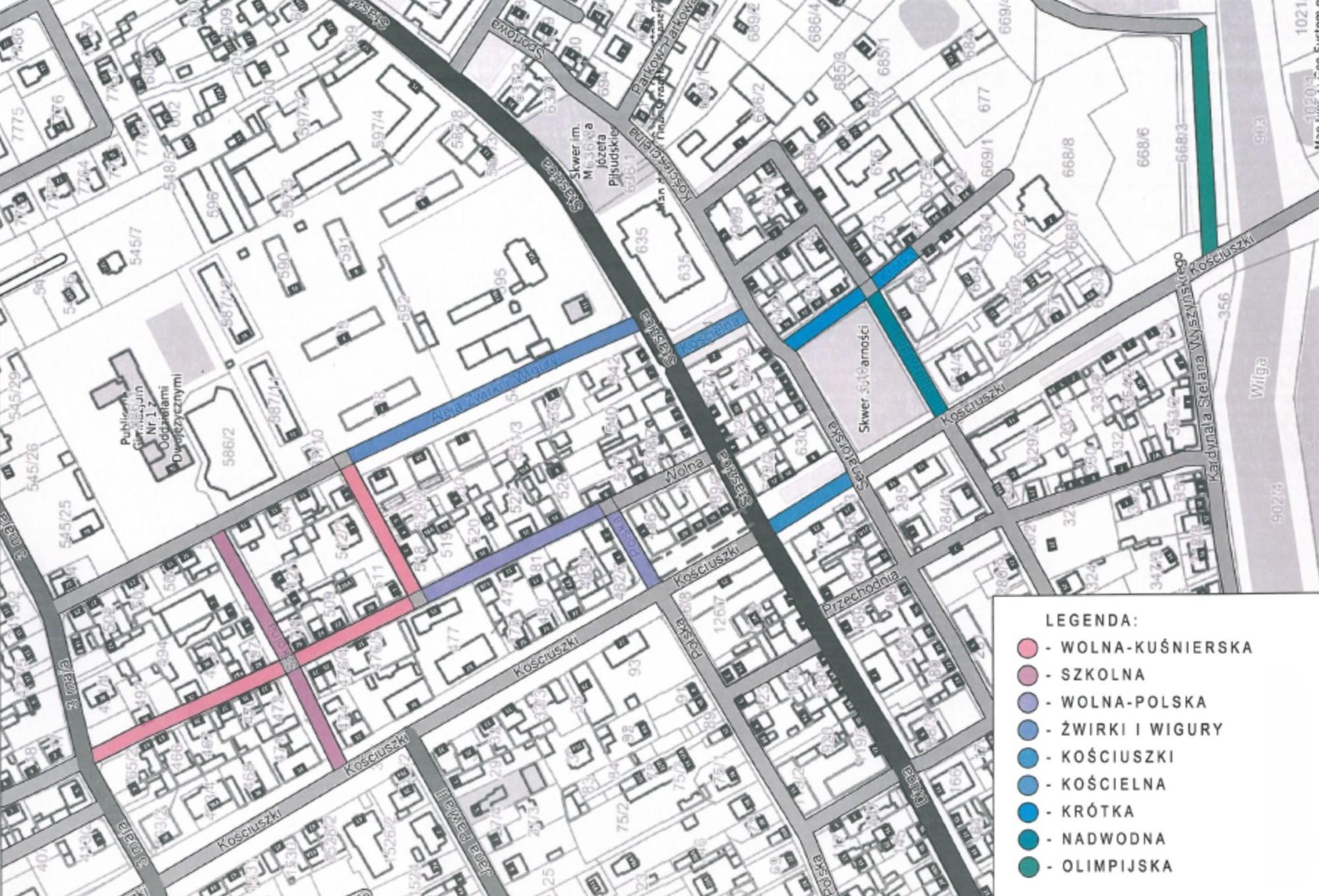 Plan ulic objętych Strefą Płatnego Parkowania